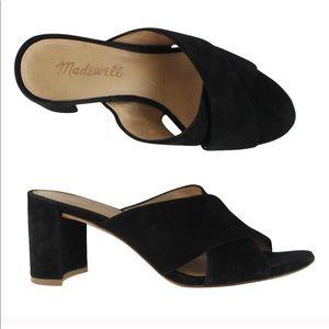 Madewell Greer Black Slide Mule Sandal Heel 7.5